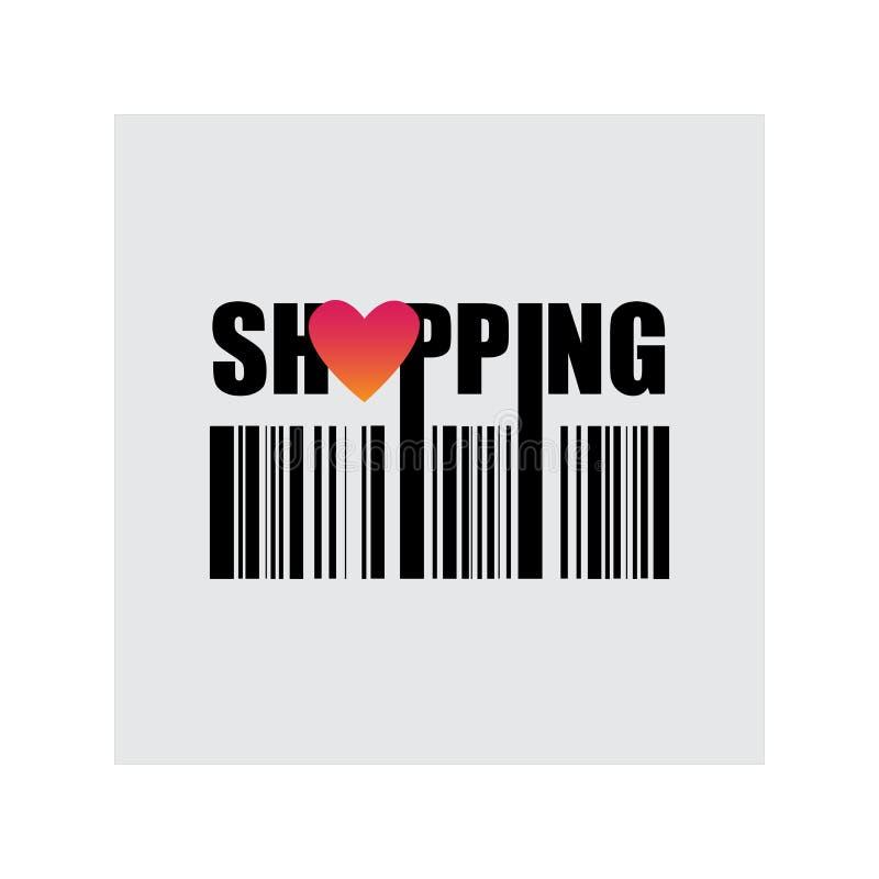 Shoppa förälskelseköp, vektorillustration stock illustrationer
