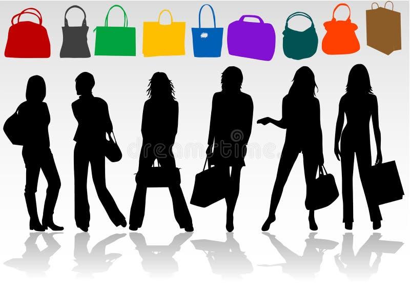 shoppa för 2 flickor royaltyfri illustrationer