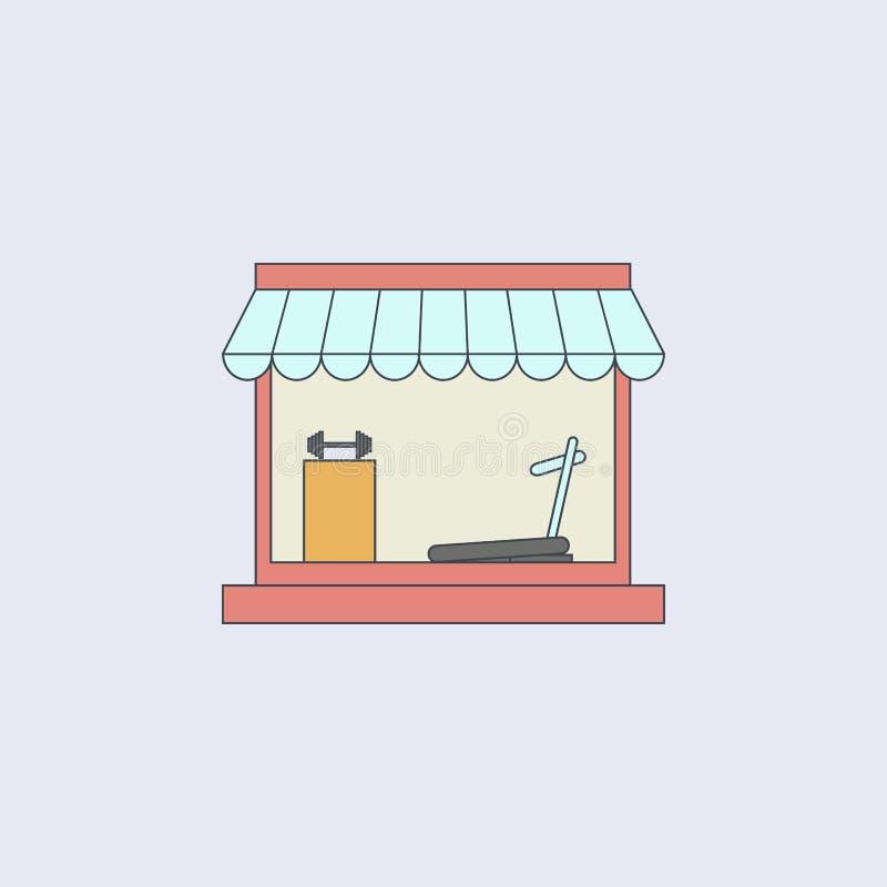 shoppa för att sälja sportar instrumenterar den kulöra översiktssymbolen En av samlingssymbolerna för websites, rengöringsdukdesi vektor illustrationer
