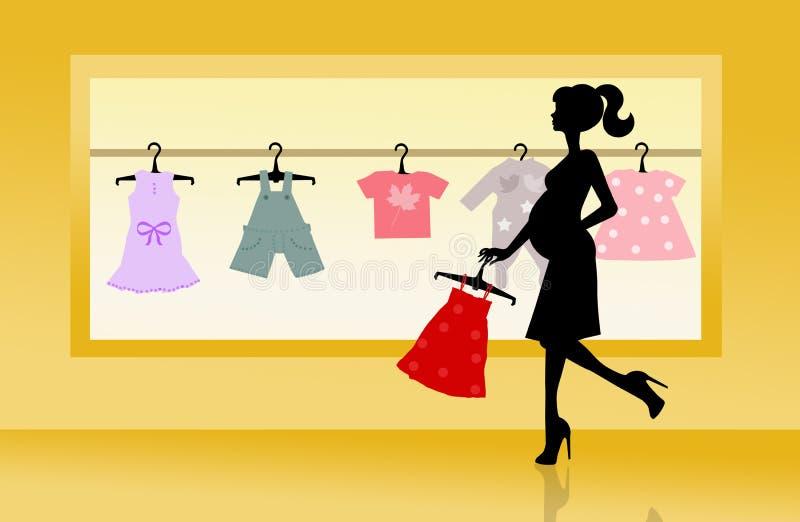 Shoppa för behandla som ett barn kläder vektor illustrationer