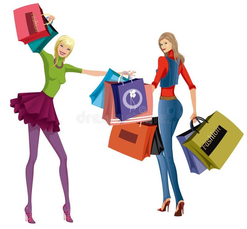 shoppa för flickor vektor illustrationer