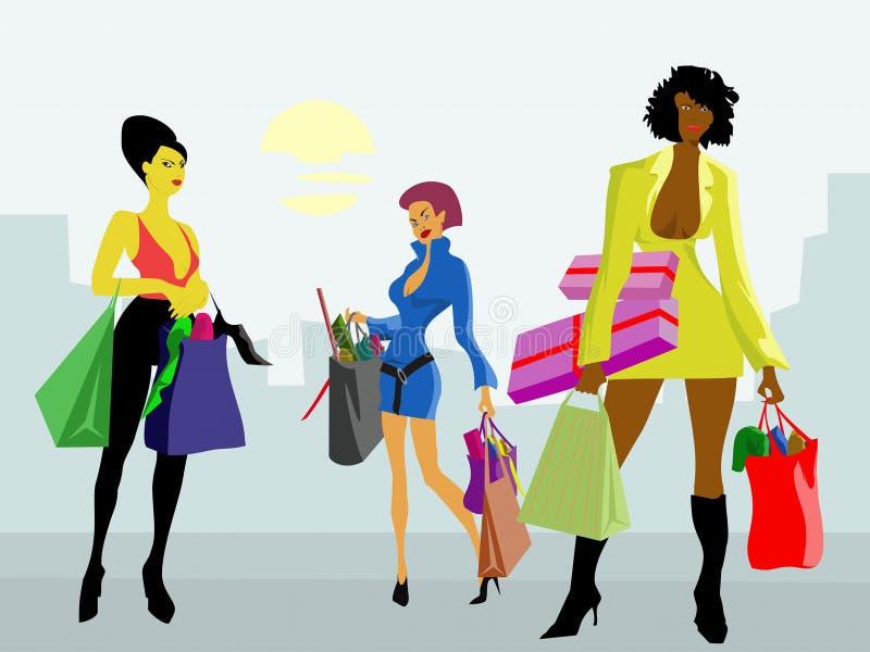 shoppa för flickor stock illustrationer
