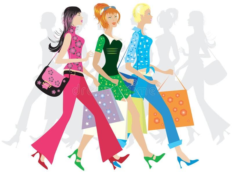shoppa för flickor royaltyfri illustrationer
