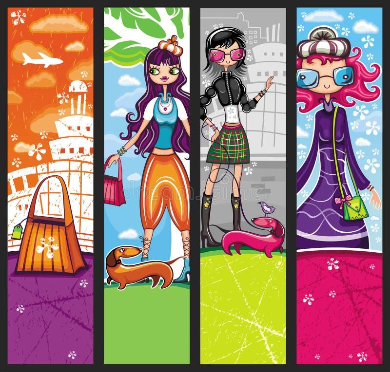 shoppa för flickor som är stads- vektor illustrationer