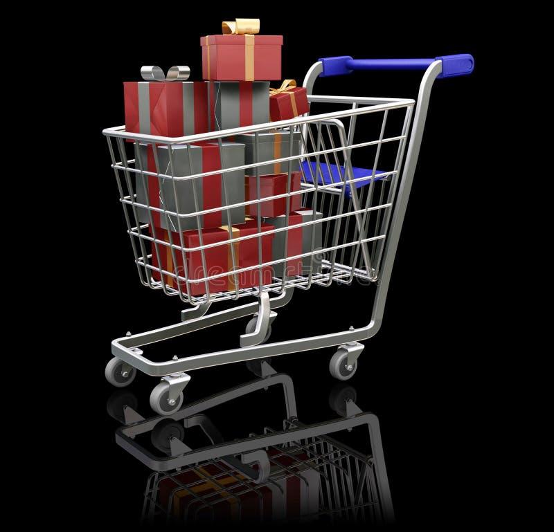 shoppa för jul stock illustrationer