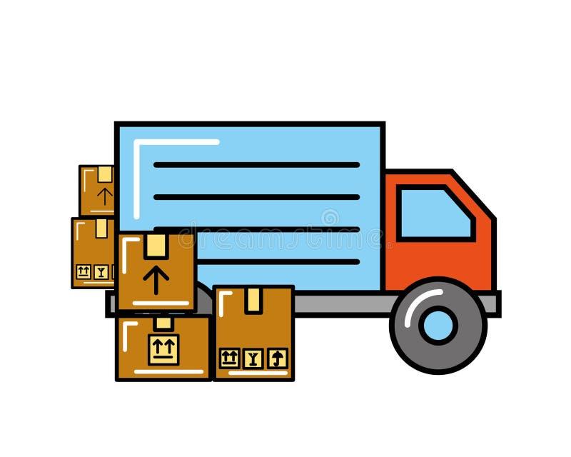 Shoppa för lastbiltransportaskar som direktanslutet är logistiskt royaltyfri illustrationer
