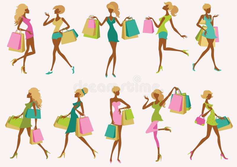 shoppa för modeflickor royaltyfri illustrationer