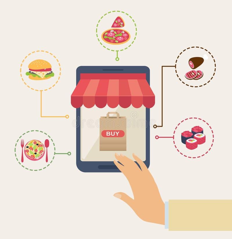Shoppa för online-mat stock illustrationer
