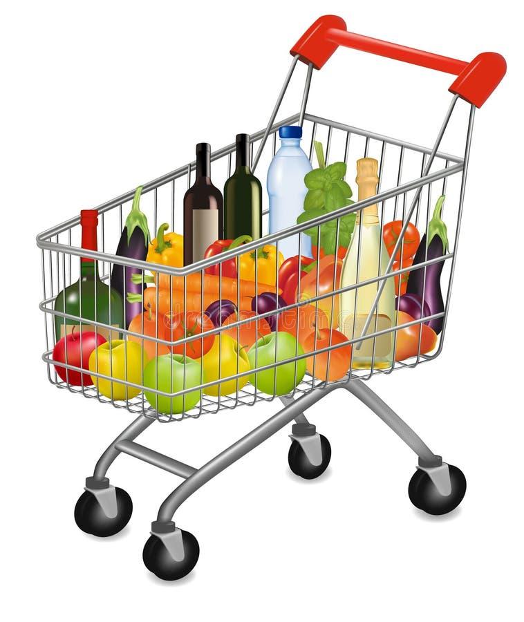 shoppa för produkter för vagn färgrikt nytt fullt stock illustrationer