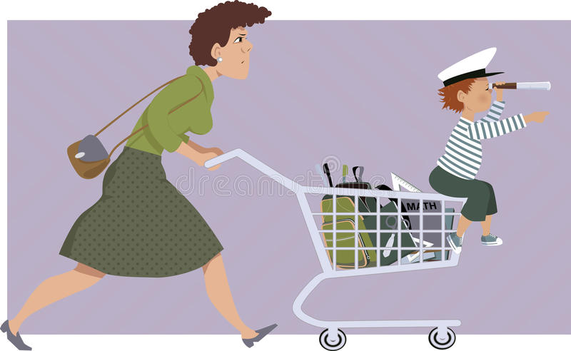Shoppa för skolatillförsel stock illustrationer