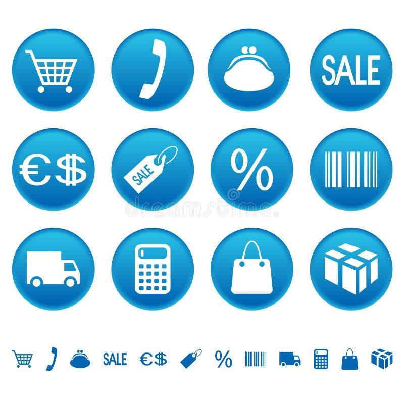 shoppa för symboler royaltyfri illustrationer