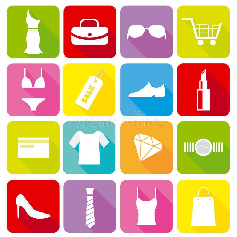 shoppa för symboler stock illustrationer