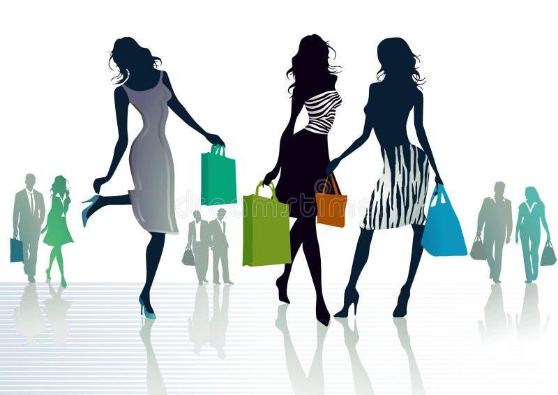 Shoppa för tre flickor royaltyfri illustrationer