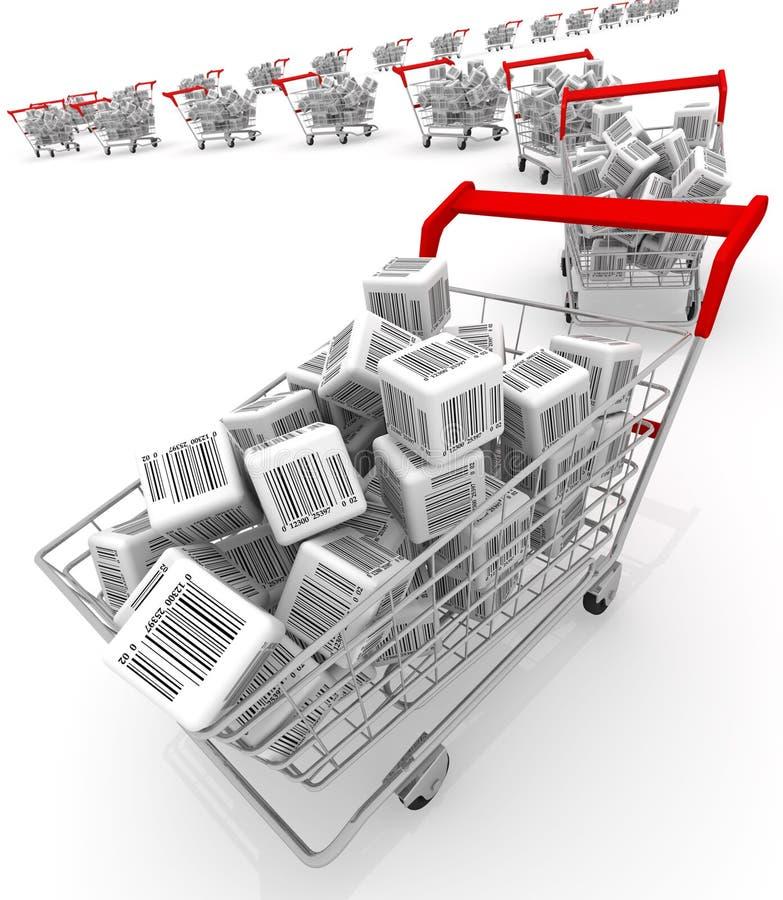 shoppa för vagnar stock illustrationer