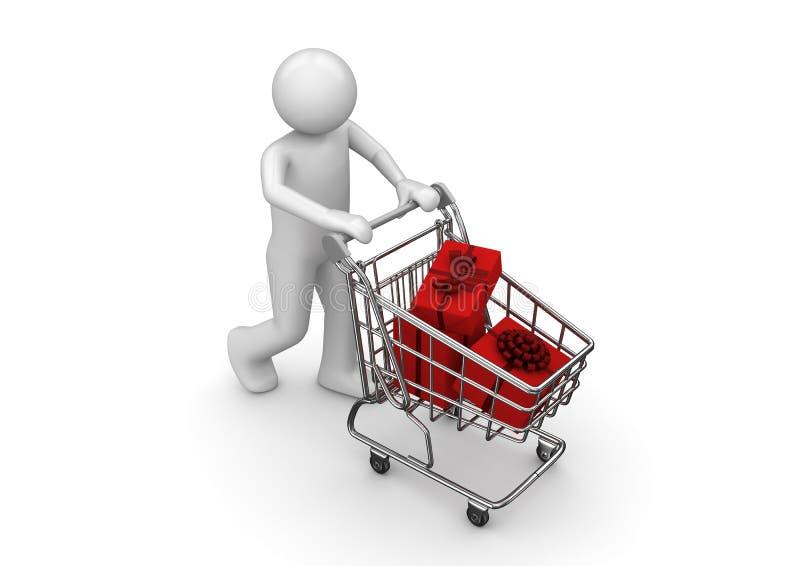 shoppa för vagnsgåvor stock illustrationer