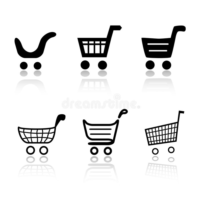 shoppa för vagnssymboler vektor illustrationer