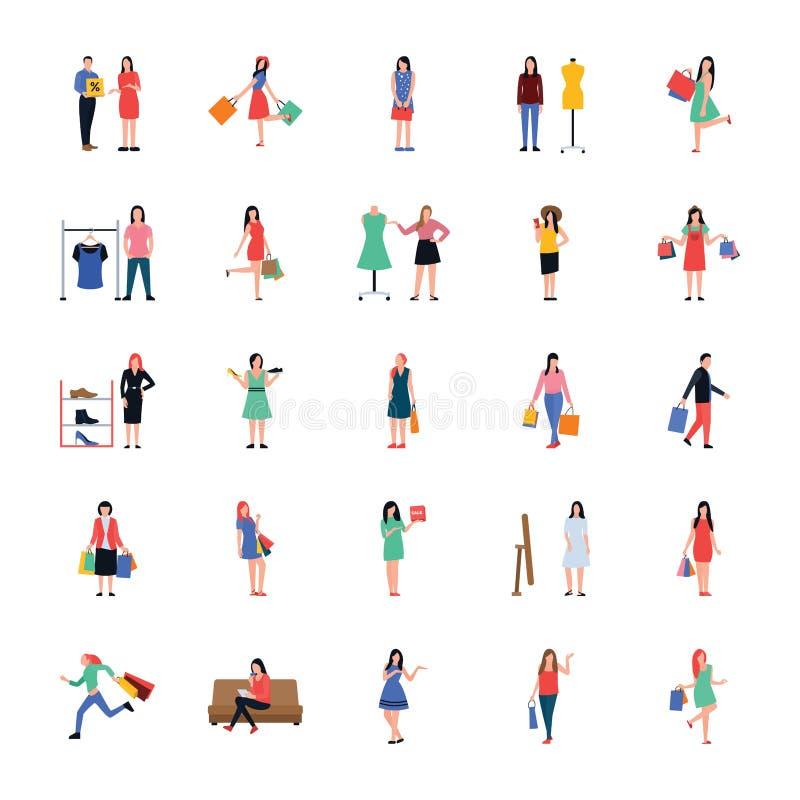 Shoppa folk plana packar symboler vektor illustrationer