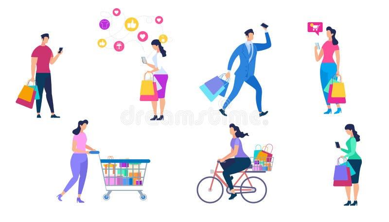Shoppa folkupps?ttningen som isoleras p? vit bakgrund vektor illustrationer