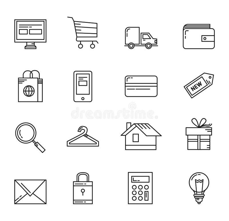 Shoppa grundläggande symboler stock illustrationer