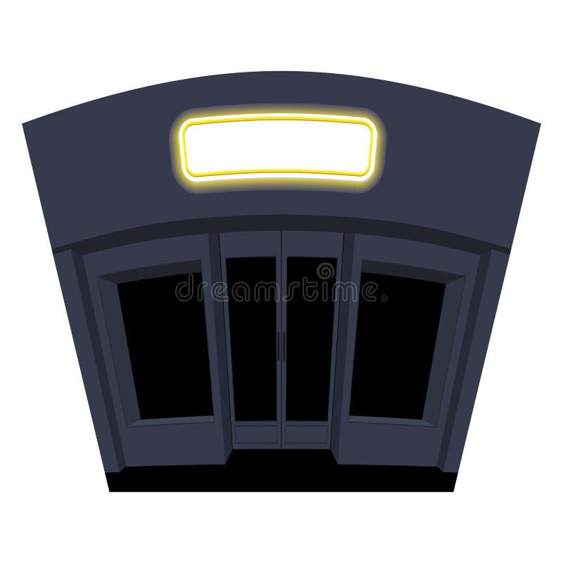 Shoppa i afton Nattskyltfönster Svarta Windows och dörrar Buil stock illustrationer