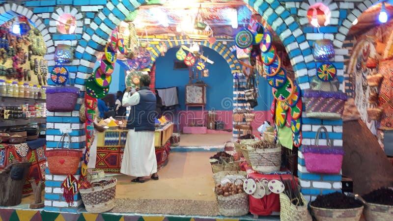 Shoppa i den Nubian byn arkivfoto