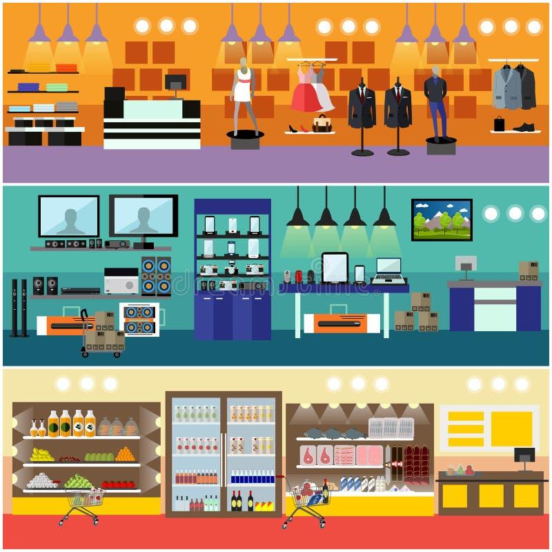 Shoppa i ett baner för galleriabegreppsvektor Inre för lager för konsumentelektronik Produkter i matsupermarket royaltyfri illustrationer