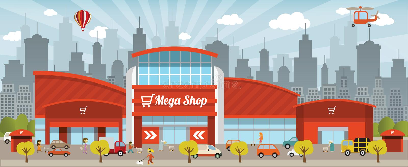 Shoppa i staden vektor illustrationer