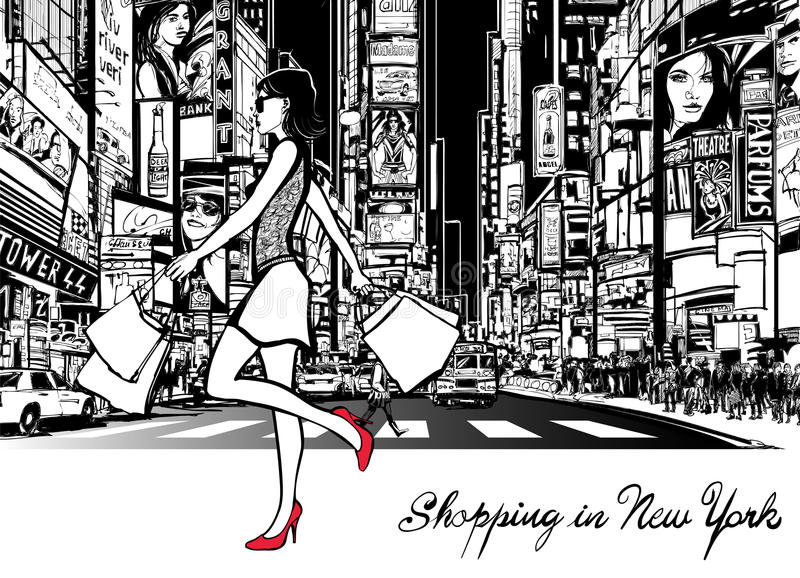 Shoppa i Times Square - New York vektor illustrationer
