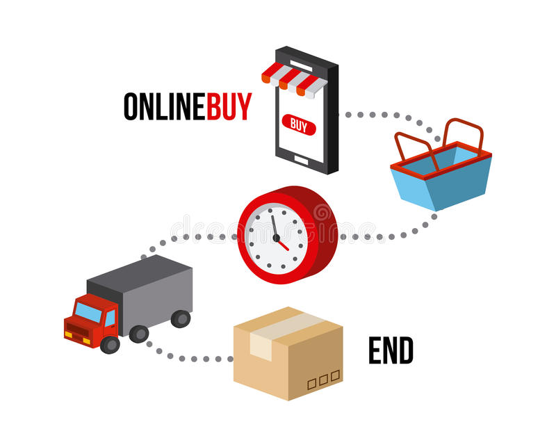 Shoppa isometrisk design stock illustrationer