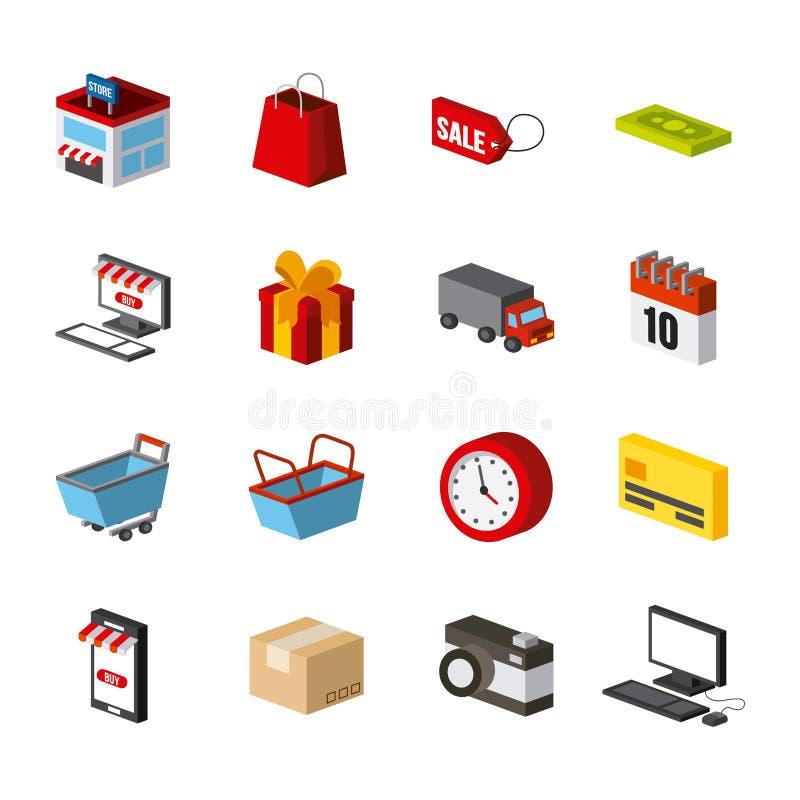 Shoppa isometrisk design vektor illustrationer