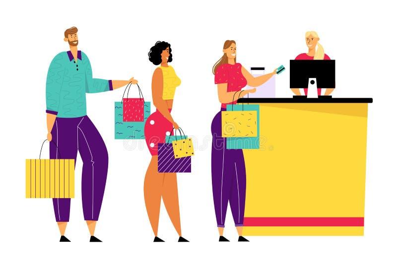 Shoppa köen i supermarket, står mannen och kvinnliga kundtecken med gods i pappers- påsar på kassörskan stock illustrationer