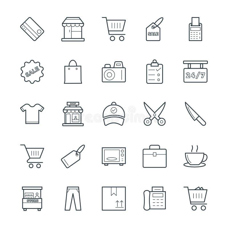Shoppa kalla vektorsymboler 1 royaltyfri illustrationer