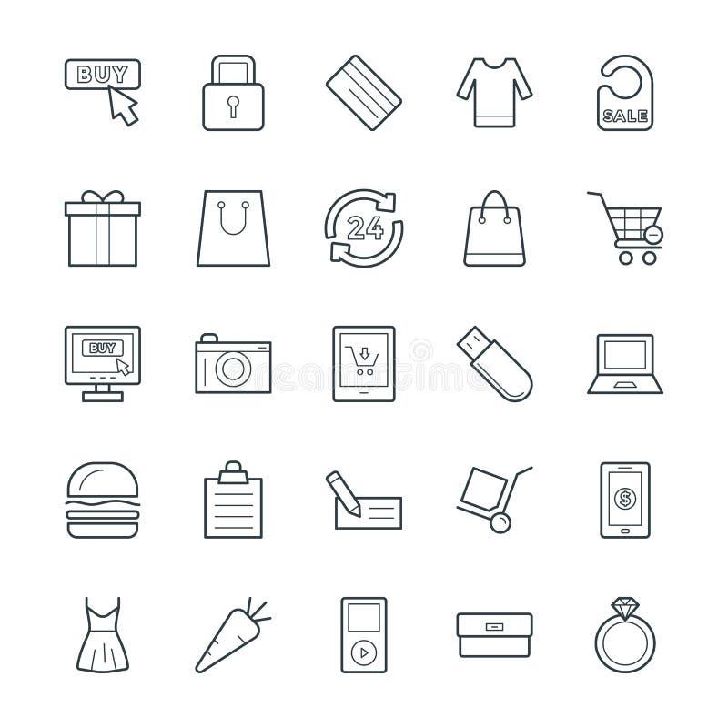 Shoppa kalla vektorsymboler 4 stock illustrationer