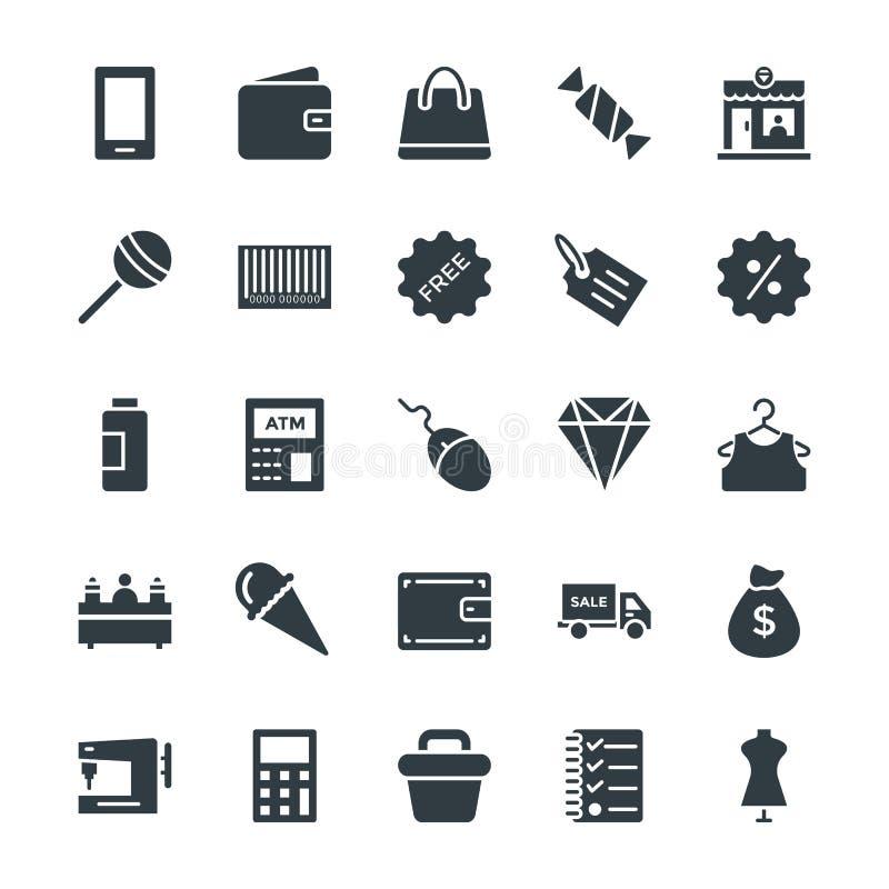 Shoppa kalla vektorsymboler 2 stock illustrationer