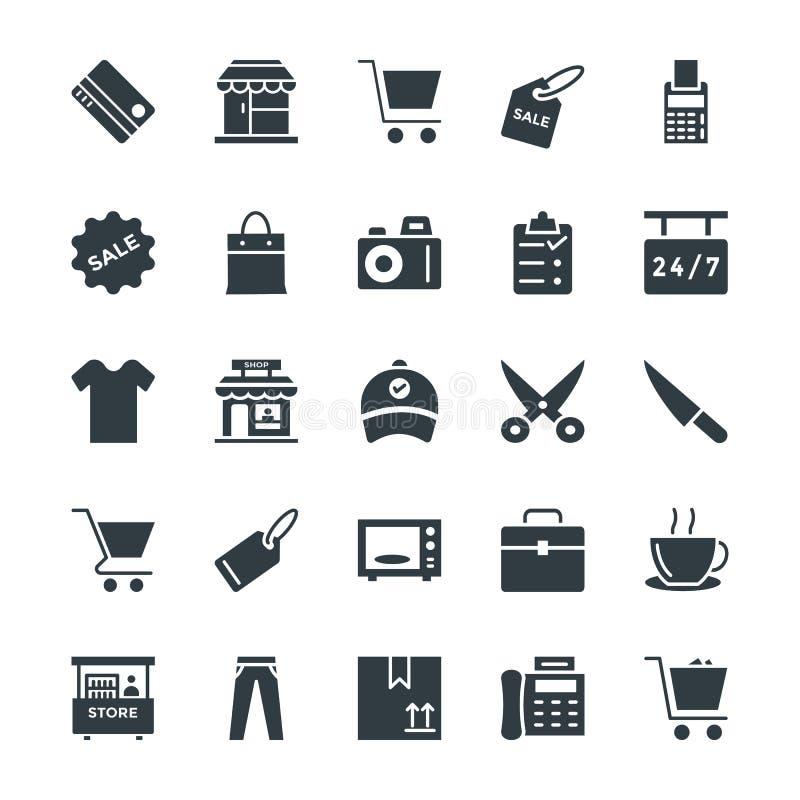 Shoppa kalla vektorsymboler 1 stock illustrationer