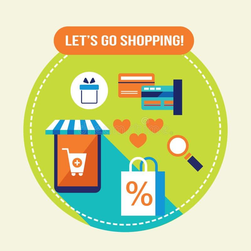 Shoppa lätt E - kommers, online-shopping och kontokortbetalningbegrepp stock illustrationer