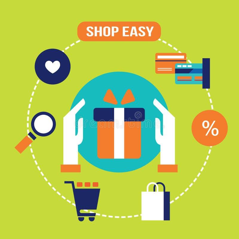 Shoppa lätt Köp gåva och gåvan E - kommers, online-shopping och kontokortbetalningbegrepp vektor illustrationer