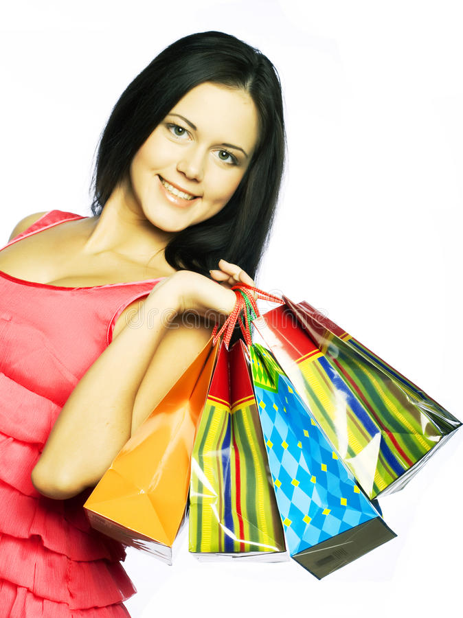 shoppa le kvinna royaltyfria bilder