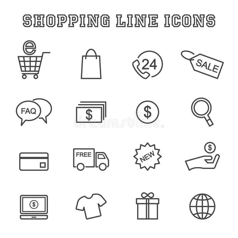 Shoppa linjen symboler vektor illustrationer