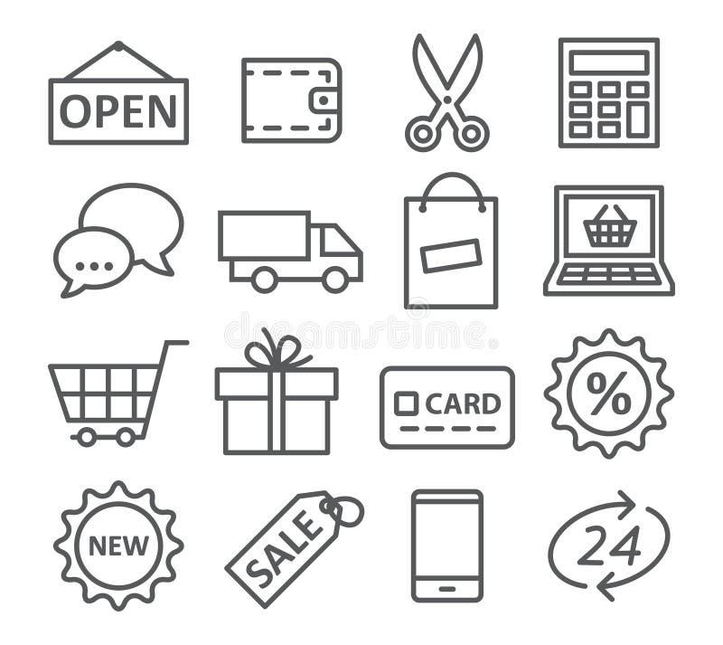 Shoppa linjen symboler royaltyfri illustrationer