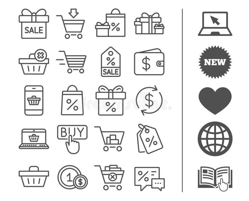 Shoppa linjen symboler Gåvor, plånbok och Sale vektor illustrationer