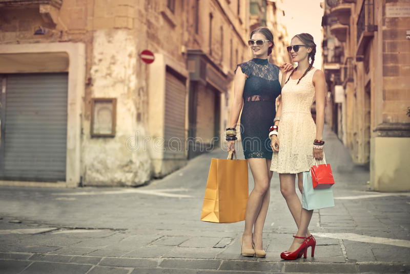 Shoppa med min vän royaltyfri bild