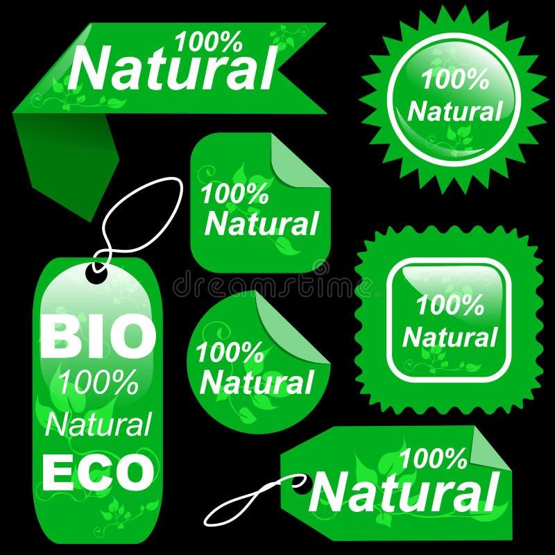 Shoppa naturlig gräsplan märker etikettuppsättningen royaltyfri illustrationer