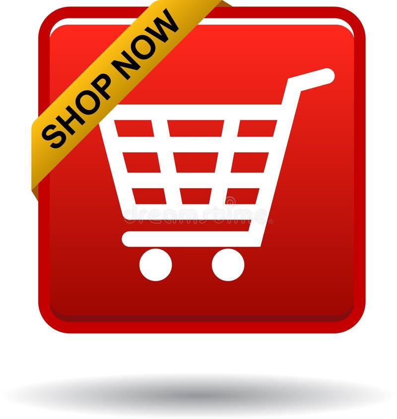 Shoppa nu knappen för den röda fyrkanten för symbolen stock illustrationer