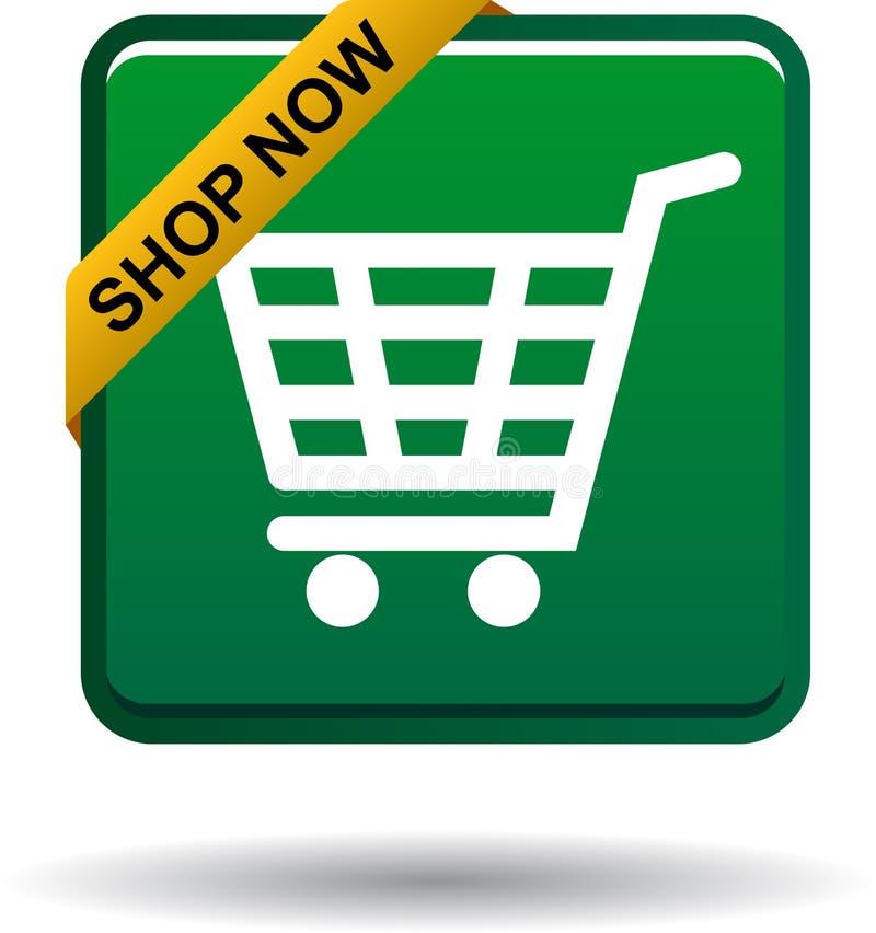 Shoppa nu knappen för symbolsgräsplanfyrkanten royaltyfri illustrationer