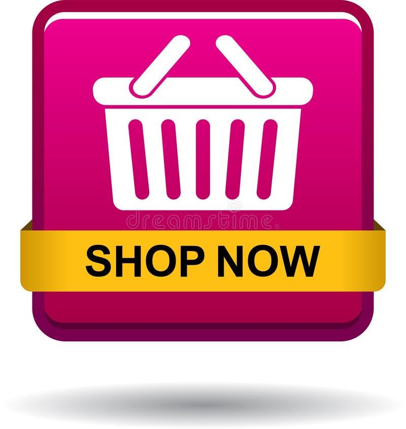 Shoppa nu knappen för symbolsrosa färgfyrkanten royaltyfri illustrationer