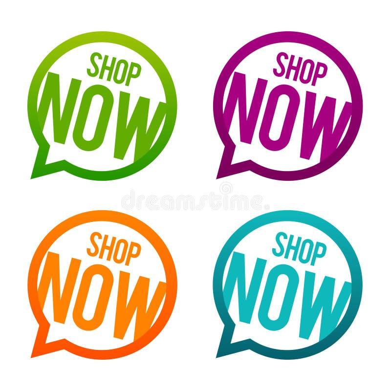 Shoppa nu runda knappar Vektor för cirkel Eps10 royaltyfri illustrationer