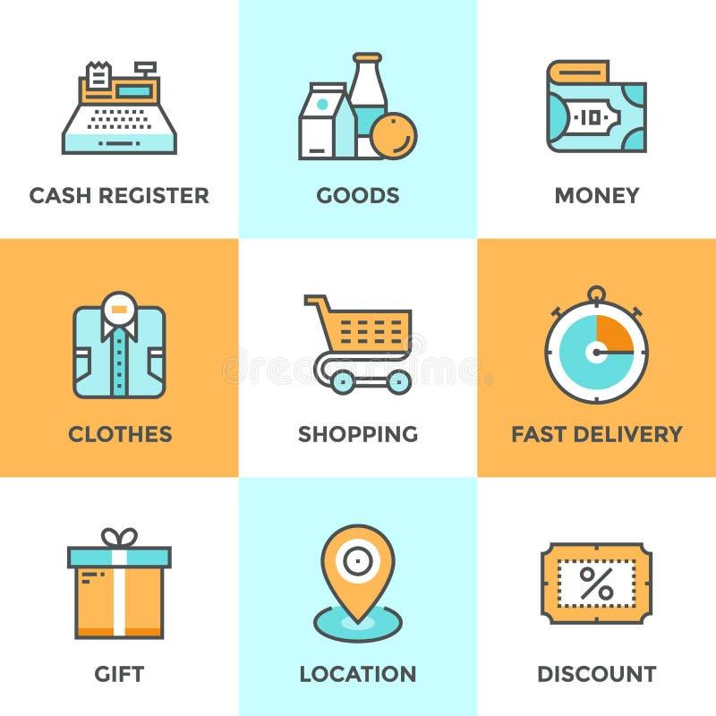 Shoppa och marknadslinje symbolsuppsättning royaltyfri illustrationer