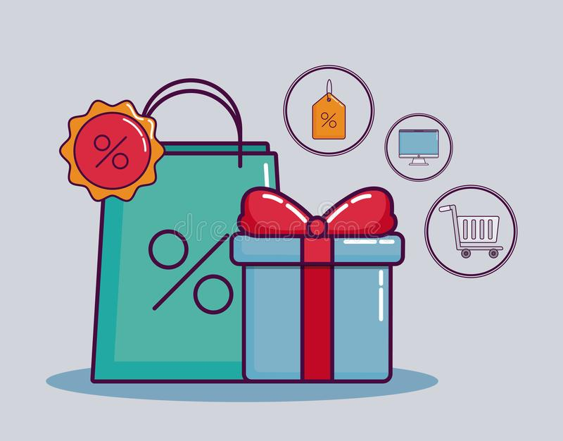 Shoppa och rabattdesign vektor illustrationer