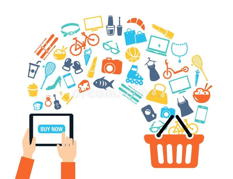 Shoppa online-bakgrund royaltyfri illustrationer